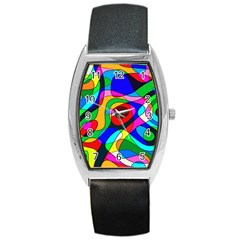 Digital Multicolor Colorful Curves Barrel Style Metal Watch