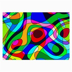 Digital Multicolor Colorful Curves Large Glasses Cloth (2 Side) by BangZart