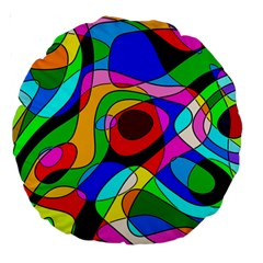 Digital Multicolor Colorful Curves Large 18  Premium Round Cushions by BangZart
