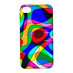 Digital Multicolor Colorful Curves Apple Iphone 4/4s Hardshell Case With Stand