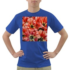 Tulips Flowers Spring Dark T-shirt by BangZart