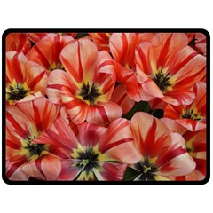 Tulips Flowers Spring Double Sided Fleece Blanket (large)