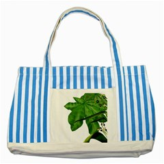 Plant Berry Leaves Green Flower Striped Blue Tote Bag by BangZart