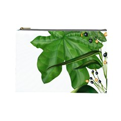 Plant Berry Leaves Green Flower Cosmetic Bag (large)
