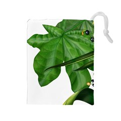 Plant Berry Leaves Green Flower Drawstring Pouches (large)