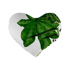 Plant Berry Leaves Green Flower Standard 16  Premium Flano Heart Shape Cushions