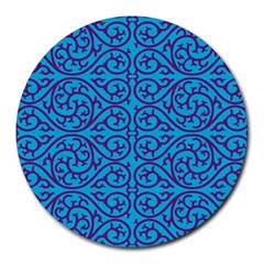 Monogram Blue Purple Background Round Mousepads