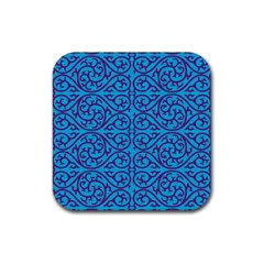 Monogram Blue Purple Background Rubber Square Coaster (4 Pack)  by BangZart