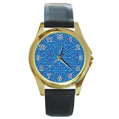 Monogram Blue Purple Background Round Gold Metal Watch