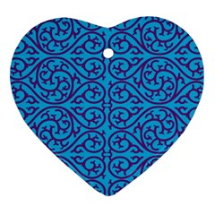 Monogram Blue Purple Background Heart Ornament (two Sides)