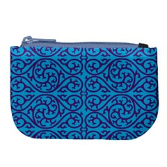 Monogram Blue Purple Background Large Coin Purse