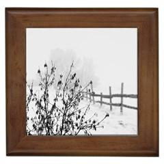 Snow Winter Cold Landscape Fence Framed Tiles by BangZart