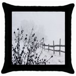 Snow Winter Cold Landscape Fence Throw Pillow Case (Black) Front