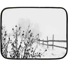 Snow Winter Cold Landscape Fence Double Sided Fleece Blanket (mini)