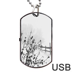 Snow Winter Cold Landscape Fence Dog Tag Usb Flash (one Side) by BangZart