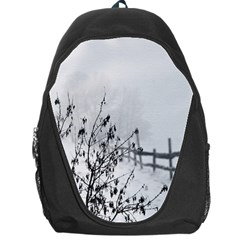 Snow Winter Cold Landscape Fence Backpack Bag by BangZart
