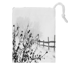 Snow Winter Cold Landscape Fence Drawstring Pouches (xxl) by BangZart