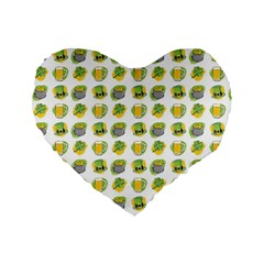 St Patrick S Day Background Symbols Standard 16  Premium Flano Heart Shape Cushions by BangZart