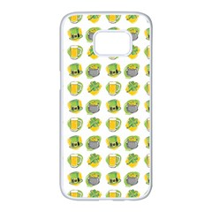 St Patrick S Day Background Symbols Samsung Galaxy S7 Edge White Seamless Case