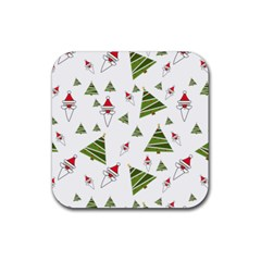 Christmas Santa Claus Decoration Rubber Coaster (square)  by BangZart