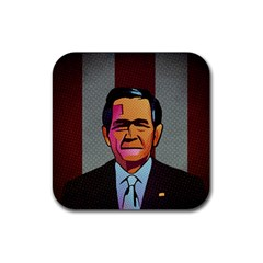 George W Bush Pop Art President Usa Rubber Square Coaster (4 Pack)  by BangZart