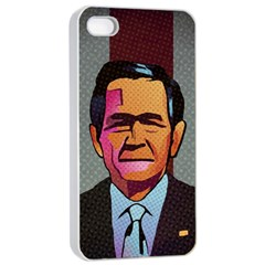 George W Bush Pop Art President Usa Apple Iphone 4/4s Seamless Case (white)