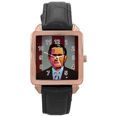 George W Bush Pop Art President Usa Rose Gold Leather Watch