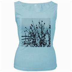 Snow Winter Cold Landscape Fence Women s Baby Blue Tank Top