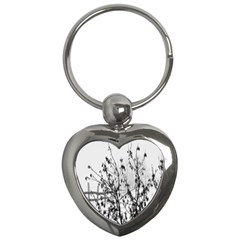 Snow Winter Cold Landscape Fence Key Chains (heart)  by BangZart