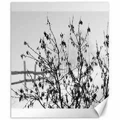 Snow Winter Cold Landscape Fence Canvas 20  X 24   by BangZart