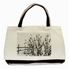 Snow Winter Cold Landscape Fence Basic Tote Bag (two Sides) by BangZart