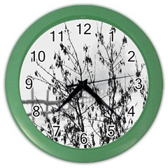 Snow Winter Cold Landscape Fence Color Wall Clocks