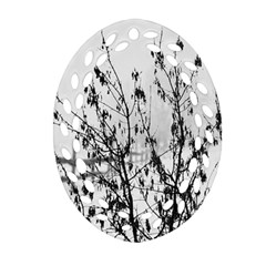 Snow Winter Cold Landscape Fence Ornament (oval Filigree) by BangZart