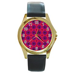 Retro Abstract Boho Unique Round Gold Metal Watch by BangZart