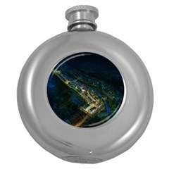 Commercial Street Night View Round Hip Flask (5 Oz) by BangZart