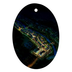 Commercial Street Night View Oval Ornament (two Sides)