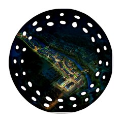 Commercial Street Night View Ornament (round Filigree)