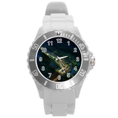 Commercial Street Night View Round Plastic Sport Watch (l)