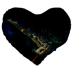 Commercial Street Night View Large 19  Premium Flano Heart Shape Cushions