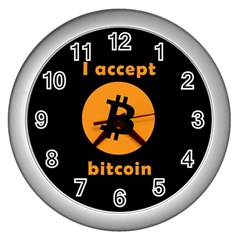 I Accept Bitcoin Wall Clocks (silver)  by Valentinaart