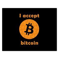 I Accept Bitcoin Rectangular Jigsaw Puzzl by Valentinaart