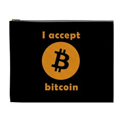 I Accept Bitcoin Cosmetic Bag (xl) by Valentinaart