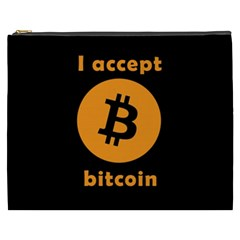 I Accept Bitcoin Cosmetic Bag (xxxl)  by Valentinaart