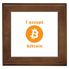 I Accept Bitcoin Framed Tiles by Valentinaart