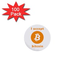 I Accept Bitcoin 1  Mini Buttons (100 Pack)  by Valentinaart