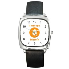 I Accept Bitcoin Square Metal Watch by Valentinaart