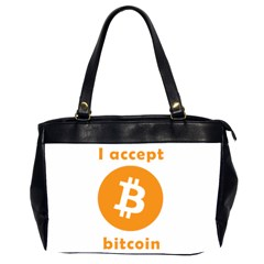 I Accept Bitcoin Office Handbags (2 Sides)  by Valentinaart