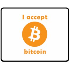 I Accept Bitcoin Double Sided Fleece Blanket (medium)  by Valentinaart