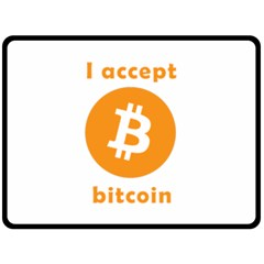 I Accept Bitcoin Double Sided Fleece Blanket (large)  by Valentinaart