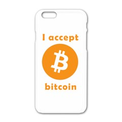 I Accept Bitcoin Apple Iphone 6/6s White Enamel Case by Valentinaart